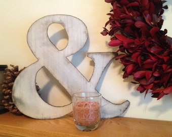 Ampersand, 7 inch, 10 inch, 14 inch Metal Ampersand, Industrial Style ampersand, Distressed Ampersand, Ampersand wall hanging, Wall decor