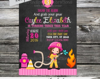 Firefighter Invitation, Birthday Invitation,  Printed Invitation, Girl Firefighter Invite, Girl Birthday Party, Chalkboard Invite, Firetruck