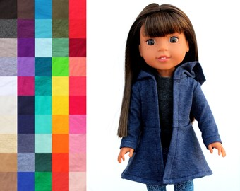 Fits like Wellie Wishers Doll Clothes - Hoodie Swing Jacket, You Choose Color   14.5 Inch Doll Clothes