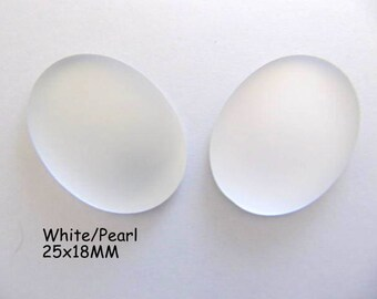 Cabochon, Luna Soft, 25x18MM, White, Pearl, Oval, Wire wrapping, Bead Embroidery, Bright Colors, Neon Color, Glow
