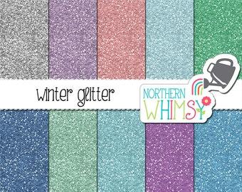 Winter Glitter Digital Paper – winter digital paper in green, purple, pink & blue - glitter texture - winter backgrounds - commercial use