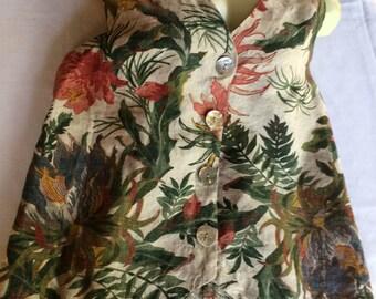Rust Flower Vest,Green Rust Vest,Linen Vest,Green Brown Vest,Leaf Vest,Linen Floral Vest,Multi-color Vest,Green Print Vest,Green Beige Vest