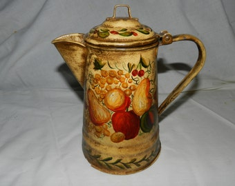 Vintage Hand Painted Toleware Coffee Pot Decorated with Fruit - Cottage / Farm house / Country Kitchen Decor / Decoration / Art Kettle  49-1