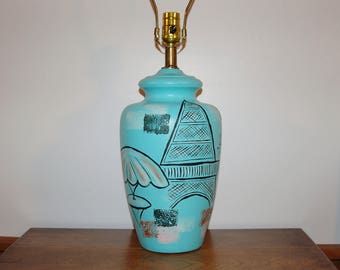 Paris Cafe Ceramic Lamp, Tye of California Style Blue Painted Lamp, French Marketplace Eiffel Tower Pottery Urn Shaped 3-Way Table Lamp