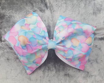 Beautiful Pastel Hearts Bow, Hair Bow, gift for girls, Hair clip