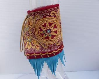 AubbieRoe Ankle Cuffs Embroidered Ankle Cuffs with Tribal Fringe