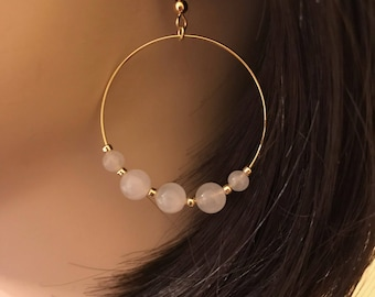 Malaysian Jade Earrings: Single Gold Hoop