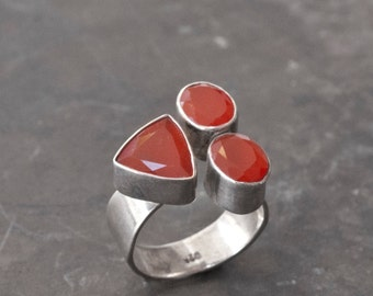 Carnelian Gemstone Ring, Sterling Silver Natural Orange Carnelian Statement Ring, Cocktail Ring, Anniversary Gift Ring for Her, Size 8 Ring