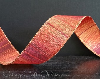 "Fall Wired Ribbon, 1 1/2"", Copper Striped Metallic, Gold, Red Brown - THREE YARDS - Offray ""Sunset"" Fall, Thanksgiving Wire Edged Ribbon"