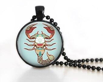 Zodiac Sign Scorpio Glass Pendant, Photo Glass Necklace, Glass Keychain, Glass Jewelry
