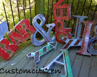 Galvanized Steel Ampersand, Metal Letters and Signs, &, Wedding Letters