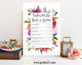 Wishes for the Bride and Groom game, Wedding shower game, bridal shower game, watercolor florals, printable game, floral frame