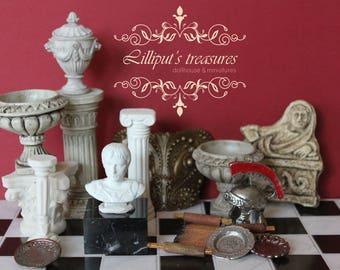 OOAK Dollhouse miniature bust of roman emperor Augustus