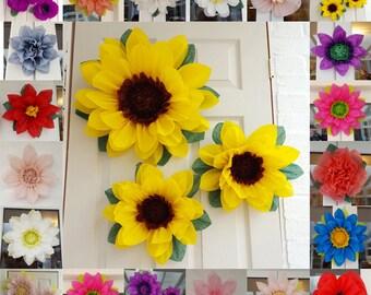 Sunflowers Pom pom Tissue Paper Flower Set of 3x 45cm & 28cm /Frozen fever/pompom/Wedding/Birthday/Centerpiece/bright yellow