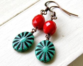 starburst drop earrings, boho jewelry, colorful earrings, czech glass jewelry, gift for her, under 20