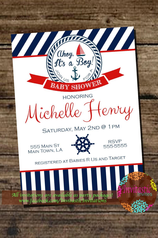Nautical Ahoy it\'s a Boy Baby Shower Invitation Sail