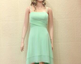 Light Mint Dress. Bridesmaid Dress. High Low Dress.