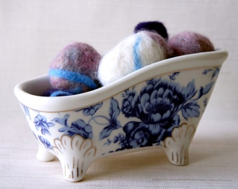 8 Felted Stones in a Bathtub, pebbbles in a bowl (INCLUDED), rocks wool felt home decor natural housewares shower favor hostess gift, blue