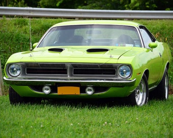 Plymouth Barracuda Cuda Front HD Poster Classic Muscle Car Print