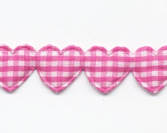 Ribbon Garland of hearts gingham Fuchsia C73 by the yard