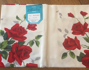 Vintage Wilendure Tablecloth, UNUSED with Paper Label Red Royal Rose, 1950's Printed Cotton, Cottage Farmhouse Decor 45 x 45 inch