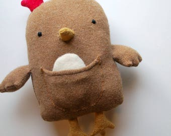 Tan Chicken Plushie with an Egg and Chick - Plush Stuffed Animal - Upcycled - Wool - Ecofriendly - Farm Animal - Play - Fun