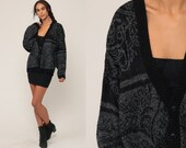 Paisley Sweater Grandpa Cardigan Sweater 80s Slouchy Grunge Boho Black Grey 1980s Hipster Vintage Bohemian Oversized Extra Large XL 2xl