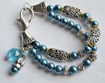 TEAL PEARL Double Row Silver Filigree Bead Bracelet with Charms