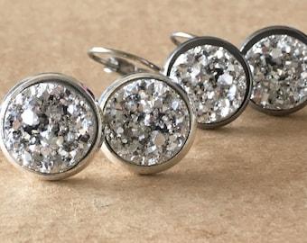Silver Druzy Earrings / Silver Faux Druzy Stud Earrings, Silver Druzy Leverback Earrings