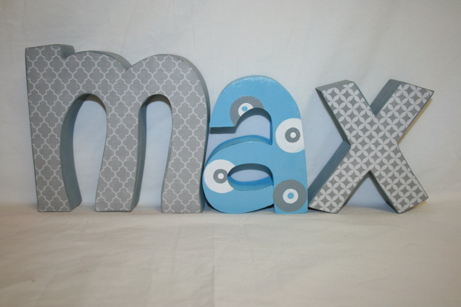 Name Wall Letters Custom Wood Letters 3 Letter Set Nursery Decor Wooden
