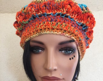 UNIQUE hand crochet cotton beret