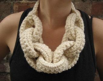 Hand Made Crochet Chain Necklace in Aran Yarn