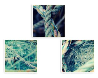 Coastal Wall Art, Set 3 Prints, Fishing Nets, Beach House Decor, Abstract Coastal Art, Mint Green Prints, Seaside Prints, Matching Print Set