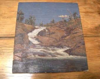Vintage Plein Air California Cascading Mountain Waterfall