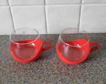 Retro Glass Plastic Coffee Cups x 2
