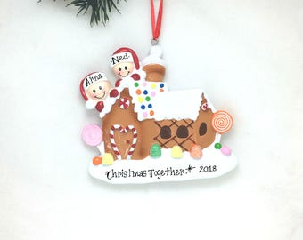 2 Gingerbread House Personalized Christmas Ornament / Gingerbread House Couple Ornament / First Christmas Ornament / New Home