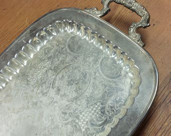 Silver Plate Platter Butler Tea Server Footed Serving Tray Handles Oblong Rectangle Silverplate Ornate Etched