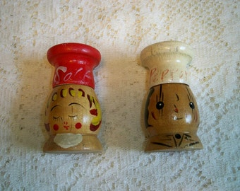 Vintage 1960s Chef Wooden Salt and Pepper Shakers