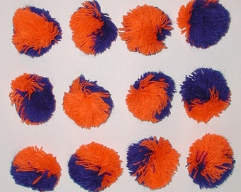 Orange And Blue Pom Poms, Blue And Orange Pom Poms, Orange Blue Pompoms, Blue Orange Pompoms, Miniature Pom Poms, Mini Pom Poms