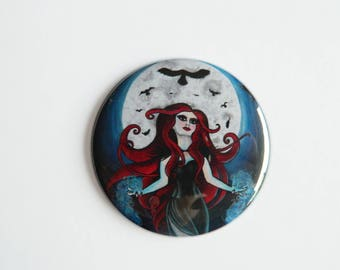 Pocket Mirror - The Morrigan - Pagan Celtic Goddess Raven Morrighan Morrioghain Phantom Queen Dark Gothic Red Goth Wicca Art Moon Compact