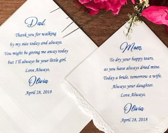 Wedding Handkerchiefs - Set of 2 - For Parents - Wedding Gift For Mother Of Bride - Printed Handkerchief For Mom