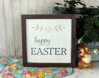 Happy Easter Sign Hand Painted Framed 9x9 inches Vintage Look Farmhouse Style Easter Decor