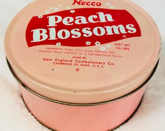 Vintage Necco Peach Blossoms Tin Box since 1847 Candy Advertising