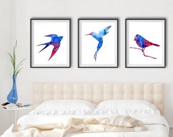 Set of 3 Watercolor Bird Art - red and blue - Watercolor Bird Art - home decor
