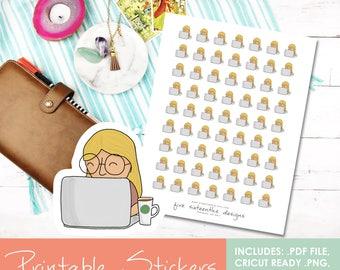 Printable Doodle Laptop Girl Rose Hand Drawn Stickers - Cricut Cut File, PDF, Black out File, Filofax, Kikki K,