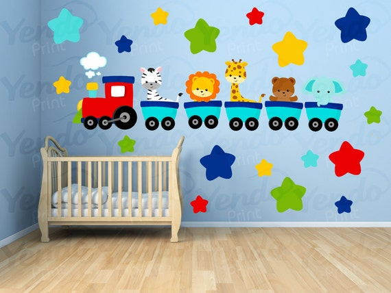 Wall Decals For Kids Bedroom Animal Train Wall Decal
