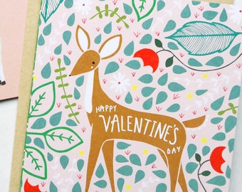 Deer Valentines Day Card, Valentines Deer Card, Deer Vday Card, Deer V Day, Blank Deer Card, Deer Valentines Gifts, Deer Love Card