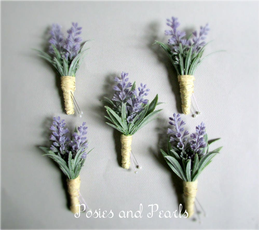 Lavender Boutonnieres Light Green Leaves And Raffia Wrap