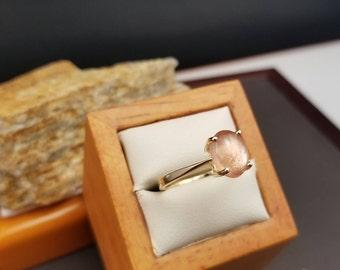 Sunstone Rings, Genuine Oregon Sunstones, 14k Oval Oregon Sunstone Ring, 14k Yellow Gold Sunstone Ring, Oregon State Gemstone, #MO46 Sz 7.5