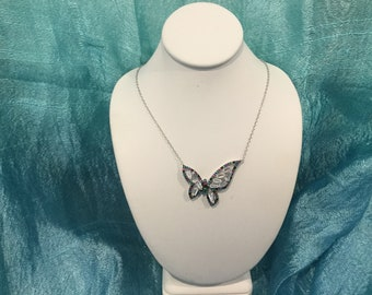 Hand made sterling silver 925 butterfly Necklace with Baguette shape  Cubic Zirconia Stone